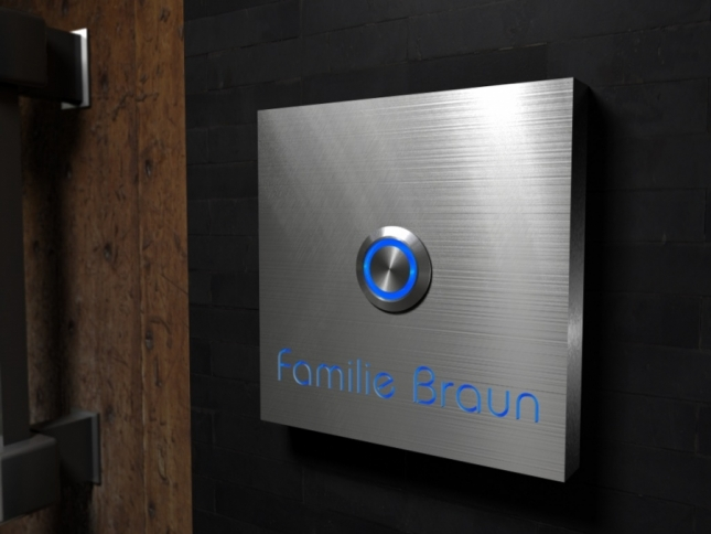 Luxus-Design Edelstahlklingel mit Osram-Led- Namesbeleuchtung